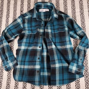 💥5/$20💥 Old Navy Blue Flannel Shirt M (8)